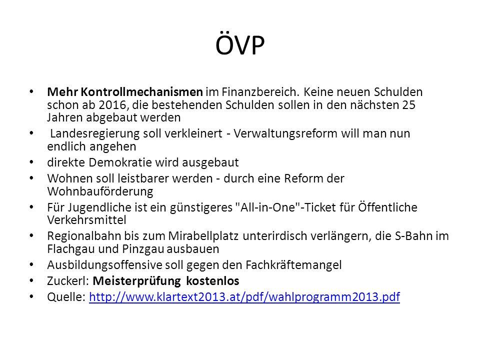 ÖVP Mehr Kontrollmechanismen im Finanzbereich.