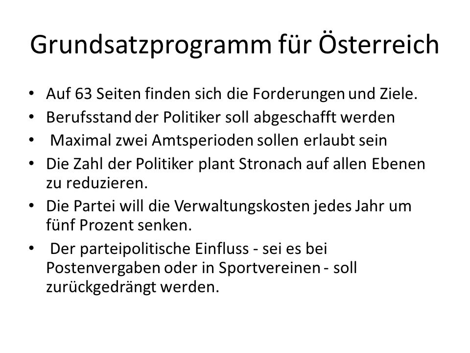 Grundsatzprogramm für Österreich Auf 63 Seiten finden sich die Forderungen und Ziele.