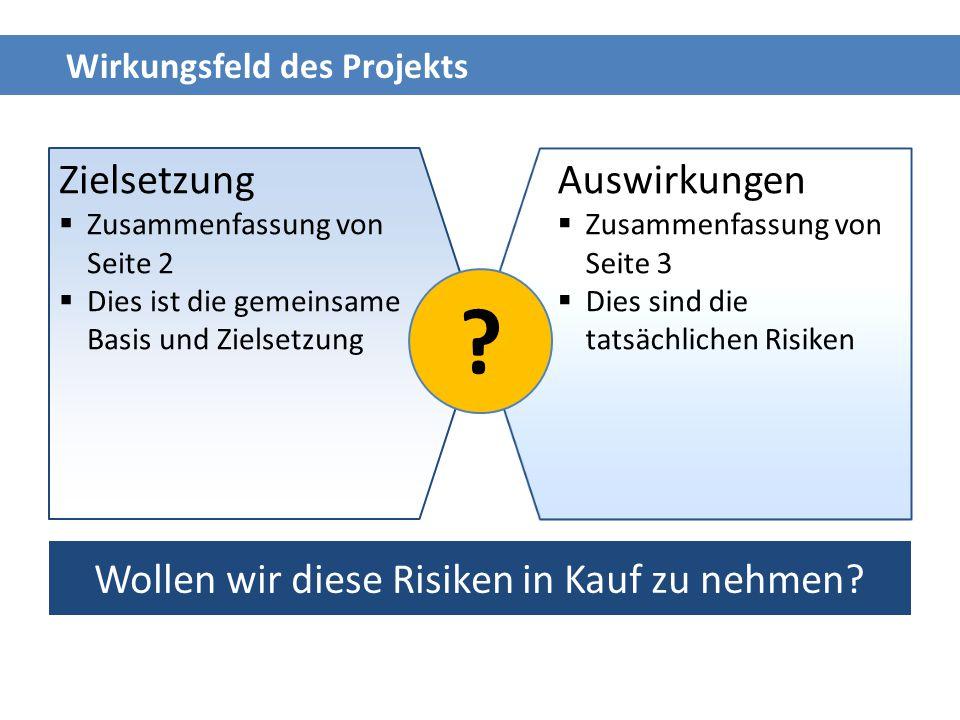 Wirkungsfeld des Projekts Zielsetzung  Zusammenfassung von Seite 2  Dies ist die gemeinsame Basis und Zielsetzung Auswirkungen  Zusammenfassung von