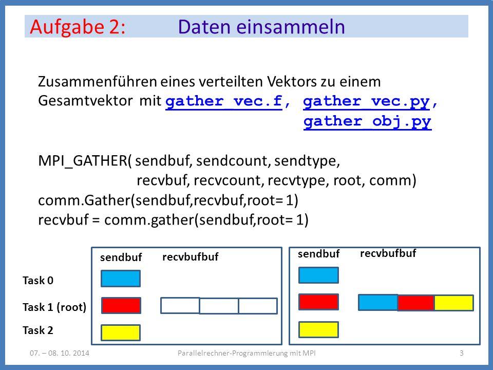 Untersuchen Sie das Programm errexit.f, errexit.py errexit.ferrexit.py Ersetzen Sie die Abfolge MPI_REDUCE + MPI_BCAST durch MPI_ALLREDUCE Syntax: MPI_ALLREDUCE( sendbuf, recvbuf, count, datatype, op, comm) recvbuf= comm.reduce(sendobj = sendbuf, recvobj=None, op=op) Aufgabe 3: Reduktion: MPI_MIN Parallelrechner-Programmierung mit MPI407.