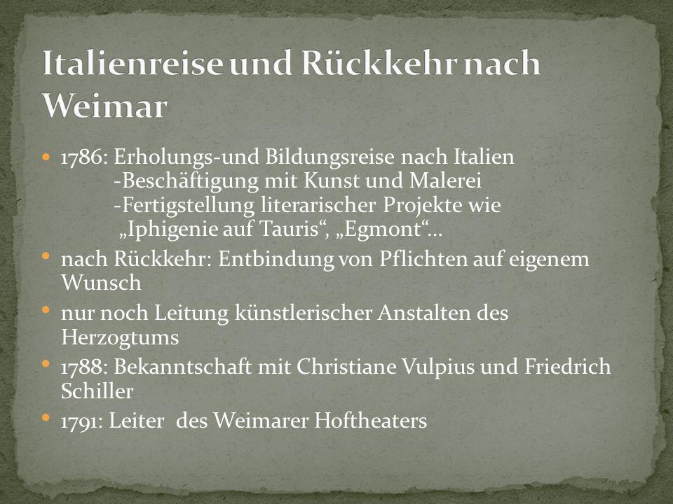 """1794: Zusammenarbeit mit Schiller """"Die Horen  durch eine innige Freundschaft entstehen weitere Werke wie """"Xenien 1797: Dichterwettstreit zwischen Schiller und Goethe (Stil der Weimarer Klassik entsteht) 09.Mai 1805: Schiller stirbt"""