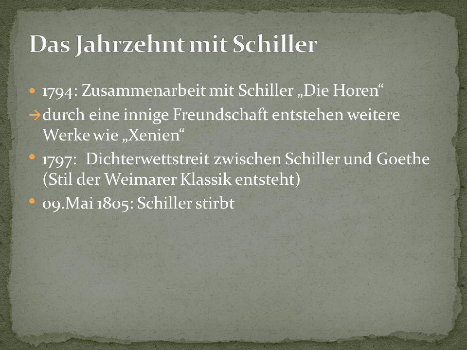 Ludwig von Knebel, Carl Friedrich Zelter und Wilhelm von Humboldt zu Goethes zählen zu Goethes engsten Freunden Thematik: Romantik, Volkspoesie 1806: Heirat mit C.