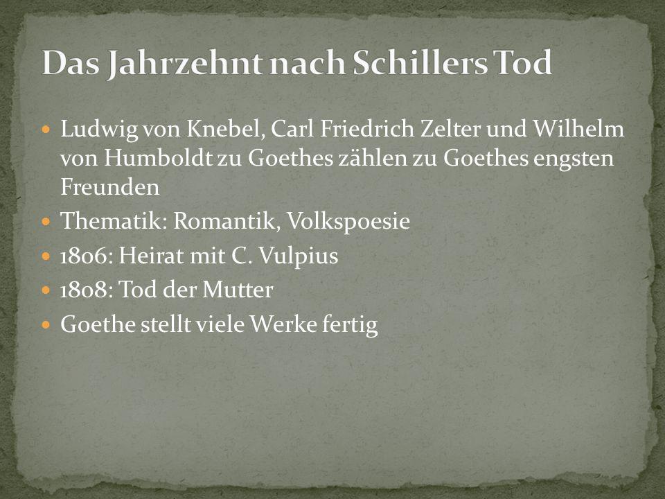 1815: Reisen ins Rhein- und Maingebiet Dezember: Amt des Staatsministers 06.06.1816: Tod seiner Ehefrau Goethe zog sich ins Weimarer Gesellschaftsleben zurück 1821: Begegnung mit seiner letzten Liebe (Ulrike von Levetzow) 1830: letzter Teil seiner Autobiographie erscheint 22.März 1832: Goethe stirbt und wird neben Schiller in der Weimarer Fürstengruft beigesetzt