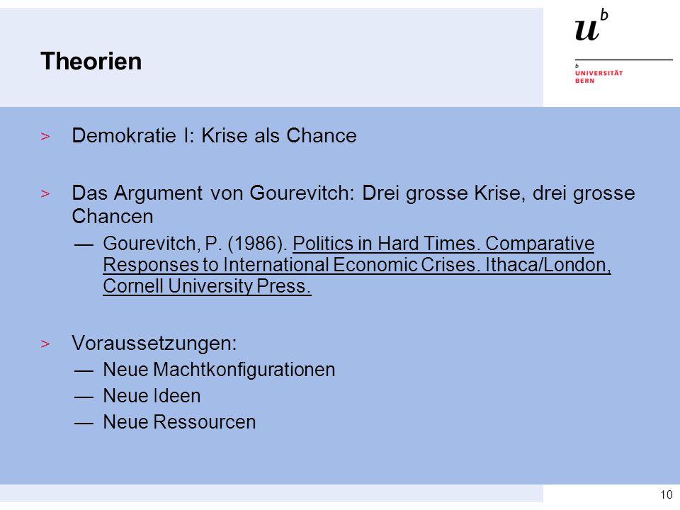 Theorien > Demokratie I: Krise als Chance > Das Argument von Gourevitch: Drei grosse Krise, drei grosse Chancen —Gourevitch, P. (1986). Politics in Ha