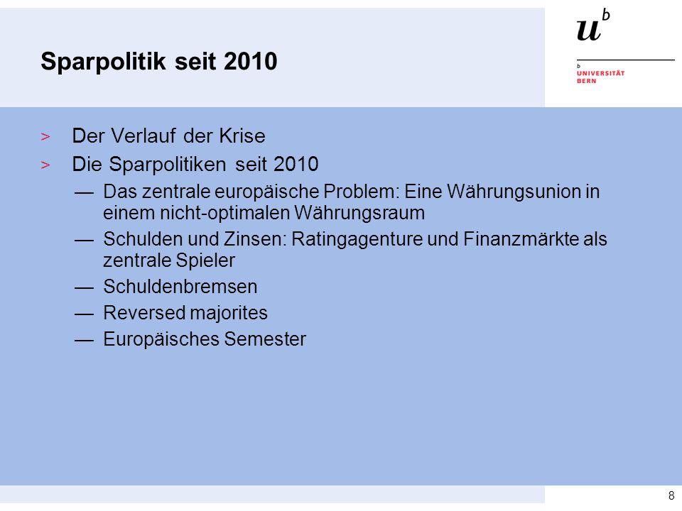 Sparpolitik seit 2010 > Der Verlauf der Krise > Die Sparpolitiken seit 2010 —Das zentrale europäische Problem: Eine Währungsunion in einem nicht-optim