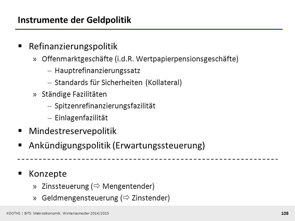 KOOTHS   BiTS: Makroökonomik, Wintersemester 2014/2015 109 Eurosystem  EZB  Nationale Zentralbanken