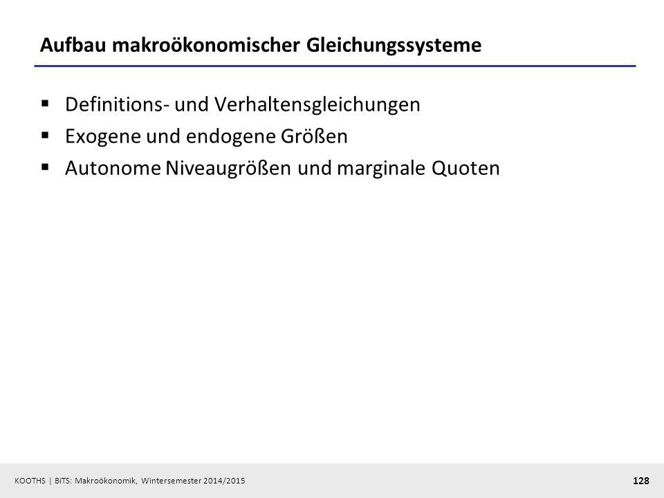 KOOTHS   BiTS: Makroökonomik, Wintersemester 2014/2015 129 Gleichgewichtslösung und Einkommensmultiplikator