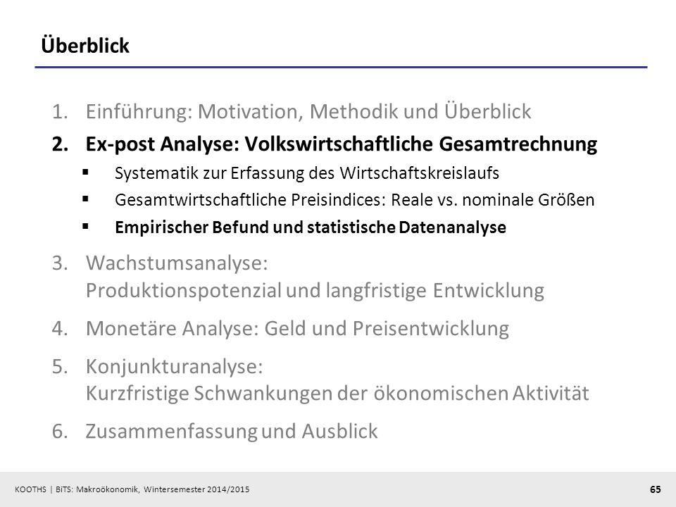 KOOTHS   BiTS: Makroökonomik, Wintersemester 2014/2015 66 Wichtige Datenquellen  Statistisches Bundesamt (www.destatis.de)www.destatis.de »Fachserie 18 (Reihe 1.2, Reihe 1.3, Reihe 1.4) »GENESIS-Online  Deutsche Bundesbank (www.bundesbank.de)www.bundesbank.de »Zeitreihenserver  Eurostat (epp.eurostat.ec.europa.eu)epp.eurostat.ec.europa.eu »Datenbank-Server