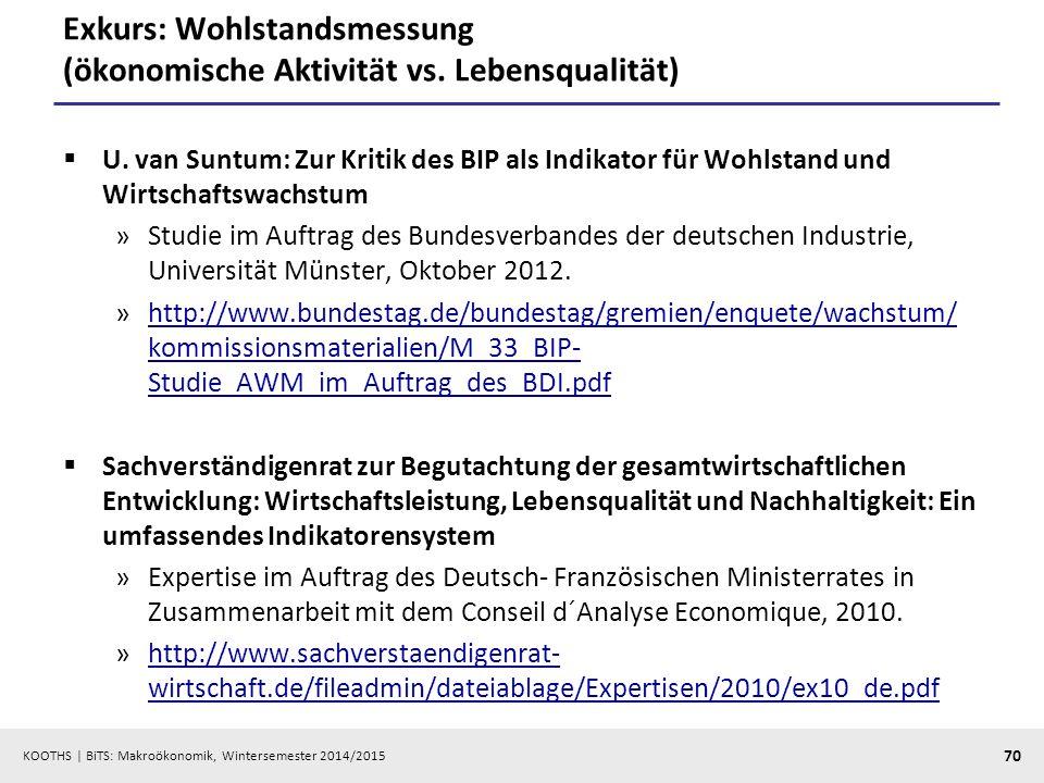 KOOTHS   BiTS: Makroökonomik, Wintersemester 2014/2015 71 Lesepause  Brümmerhoff (2007), Kap.