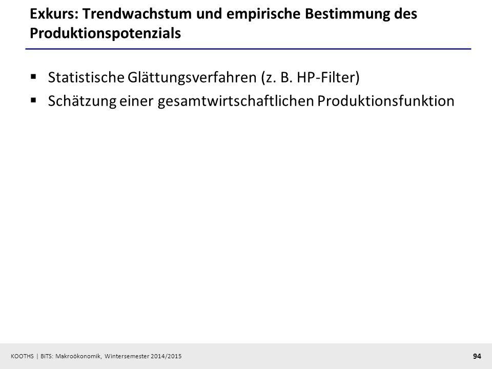 KOOTHS   BiTS: Makroökonomik, Wintersemester 2014/2015 95 Exkurs: Hodrick-Prescott-Filterverfahren (HP-Filter) Jahreswerte: 100 Quartalswerte: 1600 Monatswerte: 14400  Abwägung zwischen Anpassung und Glättung als Minimierungsproblem: »y t : zu glättende Zeitreihe »  : gesuchte Trendkomponente » : Glättungsparameter Beispiel: PBS-HP-Filter.xlsPBS-HP-Filter.xls Excel Add-In: www.web-reg.de/hp_addin.htmlwww.web-reg.de/hp_addin.html  min!