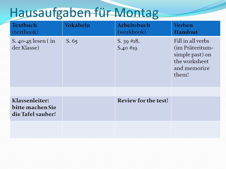 Hausaufgaben für Montag Textbuch (textbook) VokabelnArbeitsbuch (workbook) Verben Handout S. 40-45 lesen ( in der Klasse) S. 65S. 39 #18, S.40 #19 Fil