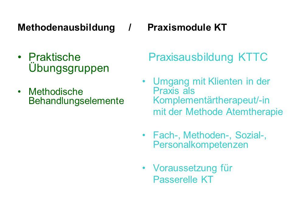 Methodenausbildung / Praxismodule KT Praktische Übungsgruppen Methodische Behandlungselemente Praxisausbildung KTTC Umgang mit Klienten in der Praxis als Komplementärtherapeut/-in mit der Methode Atemtherapie Fach-, Methoden-, Sozial-, Personalkompetenzen Voraussetzung für Passerelle KT