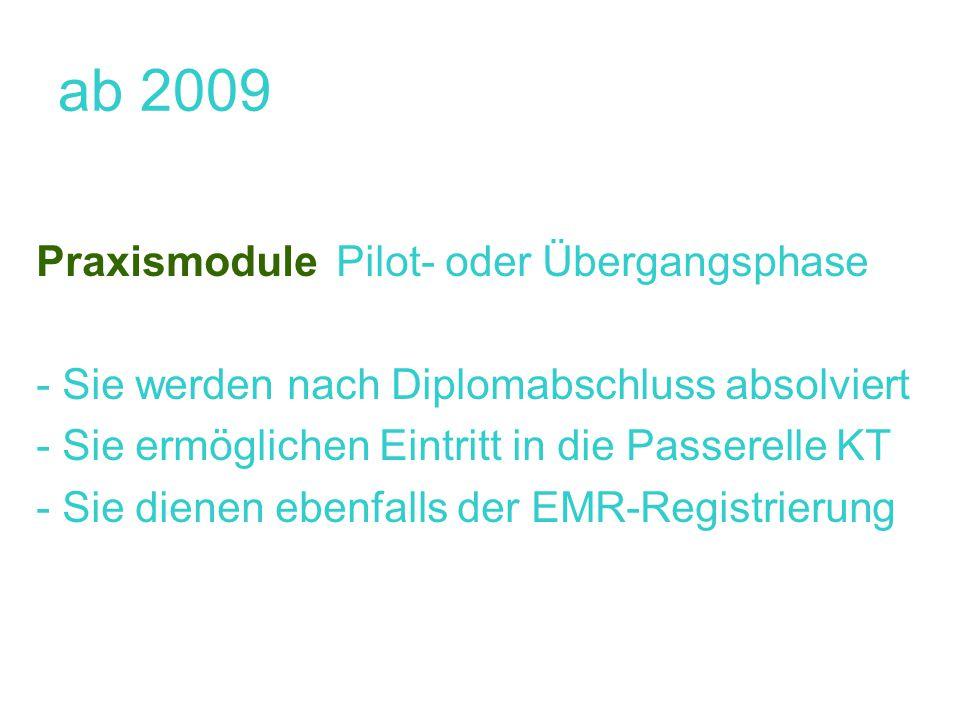 ab 2009 Praxismodule Pilot- oder Übergangsphase - Sie werden nach Diplomabschluss absolviert - Sie ermöglichen Eintritt in die Passerelle KT - Sie dienen ebenfalls der EMR-Registrierung