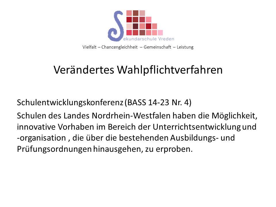 Vielfalt – Chancengleichheit – Gemeinschaft – Leistung Verändertes Wahlpflichtverfahren Schulentwicklungskonferenz (BASS 14-23 Nr. 4) Schulen des Land