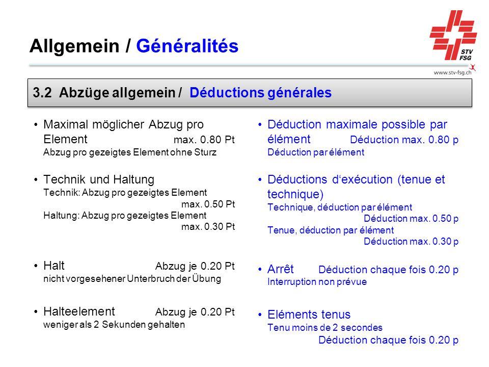 Allgemein / Généralités Maximal möglicher Abzug pro Element max. 0.80 Pt Abzug pro gezeigtes Element ohne Sturz Technik und Haltung Technik: Abzug pro