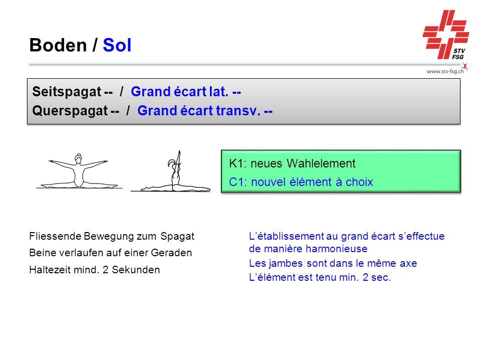 L'établissement au grand écart s'effectue de manière harmonieuse Les jambes sont dans le même axe L'élément est tenu min. 2 sec. Fliessende Bewegung z