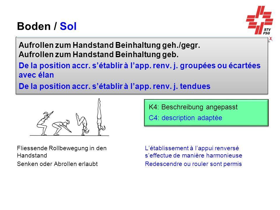 L'établissement à l'appui renversé s'effectue de manière harmonieuse Redescendre ou rouler sont permis Fliessende Rollbewegung in den Handstand Senken oder Abrollen erlaubt
