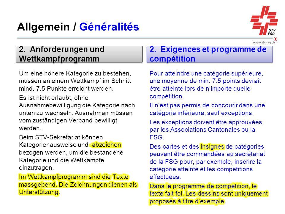 Allgemein / Généralités 2. Anforderungen und Wettkampfprogramm 2. Exigences et programme de compétition