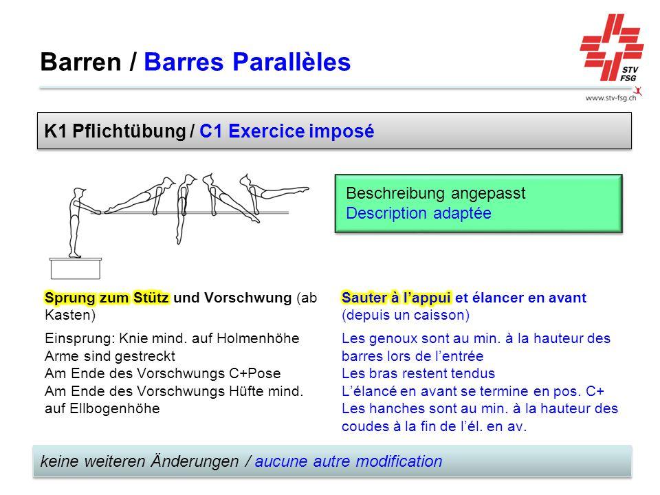 Barren / Barres Parallèles keine weiteren Änderungen / aucune autre modification