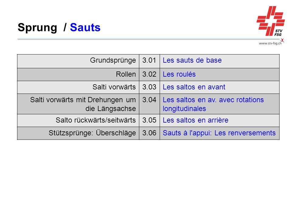 Sprung / Sauts Grundsprünge3.01Les sauts de base Rollen3.02Les roulés Salti vorwärts3.03Les saltos en avant Salti vorwärts mit Drehungen um die Längsachse 3.04Les saltos en av.