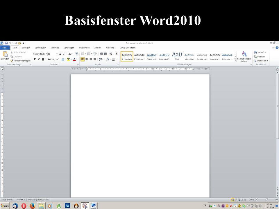 Basisfenster Word2010