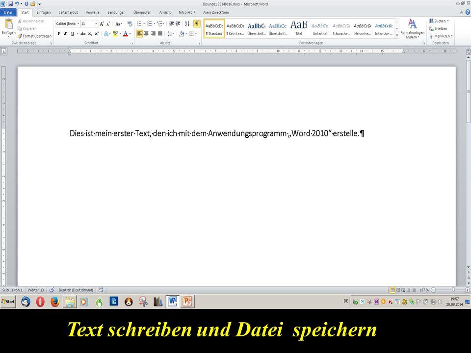 Text schreiben und Datei speichern