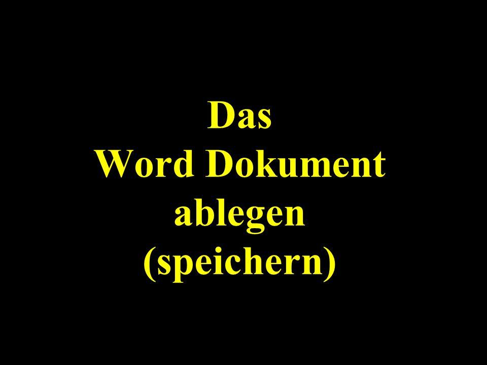 Das Word Dokument ablegen (speichern)