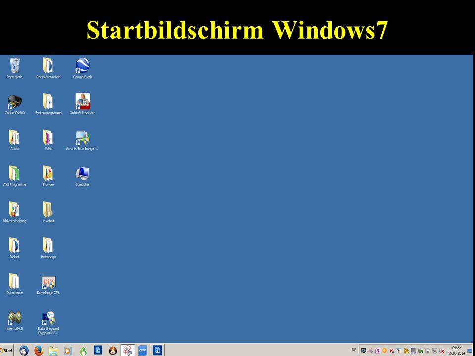Startbildschirm Windows7