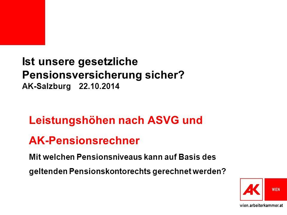 wien.arbeiterkammer.at Ist unsere gesetzliche Pensionsversicherung sicher? AK-Salzburg 22.10.2014 Leistungshöhen nach ASVG und AK-Pensionsrechner Mit