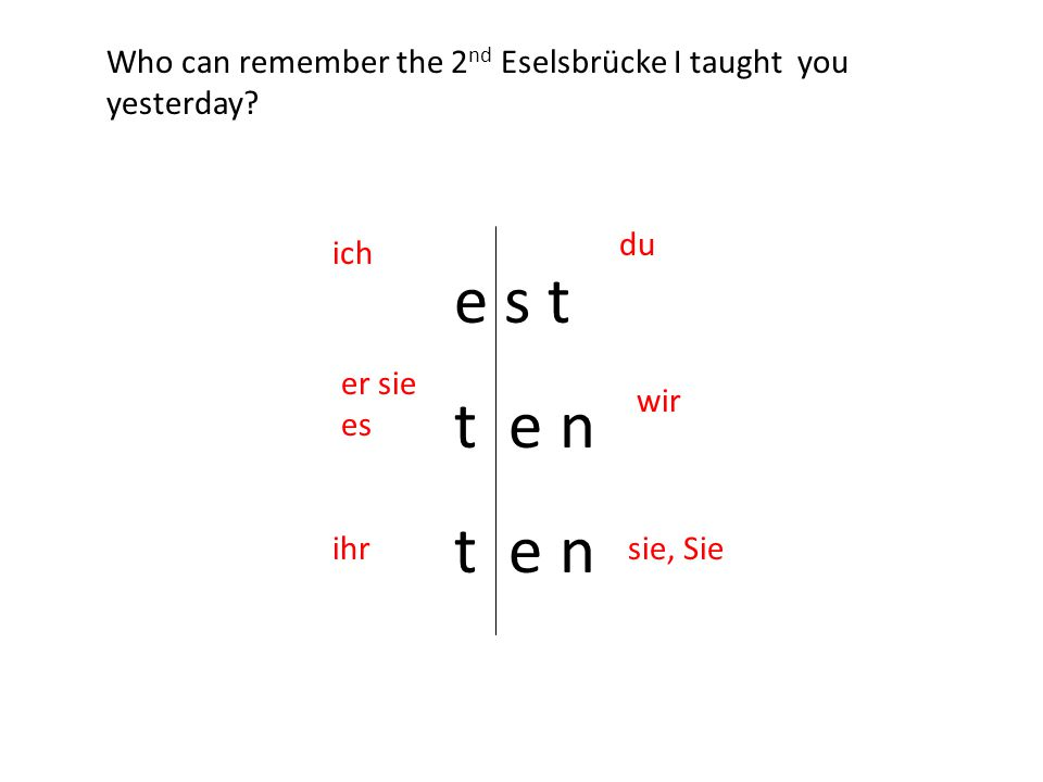 e s t t e n ich du er sie es wir ihrsie, Sie Who can remember the 2 nd Eselsbrücke I taught you yesterday
