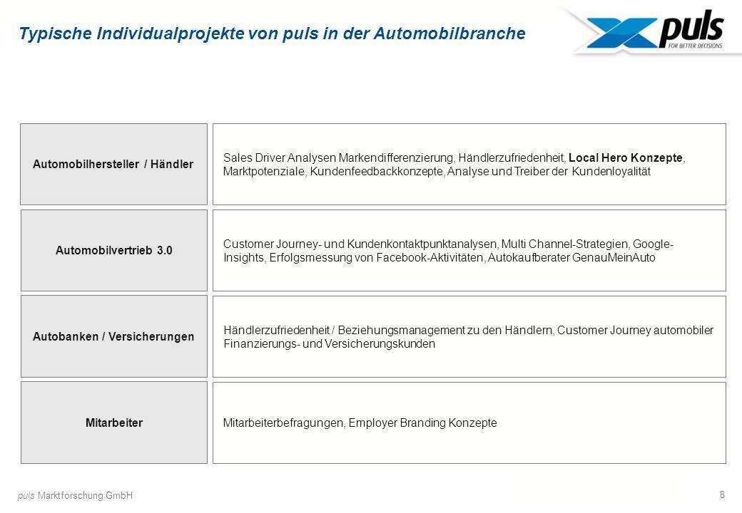 8 Typische Individualprojekte von puls in der Automobilbranche Mitarbeiter Autobanken / Versicherungen Automobilhersteller / Händler Sales Driver Anal