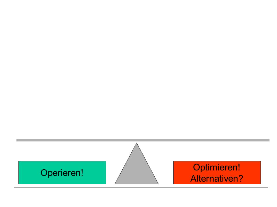 Operative Machbarkeit OP-Risiko Schwere Begleiter- krankungen Optimierungs- möglichkeit Benefit Dringlichkeit Operieren.