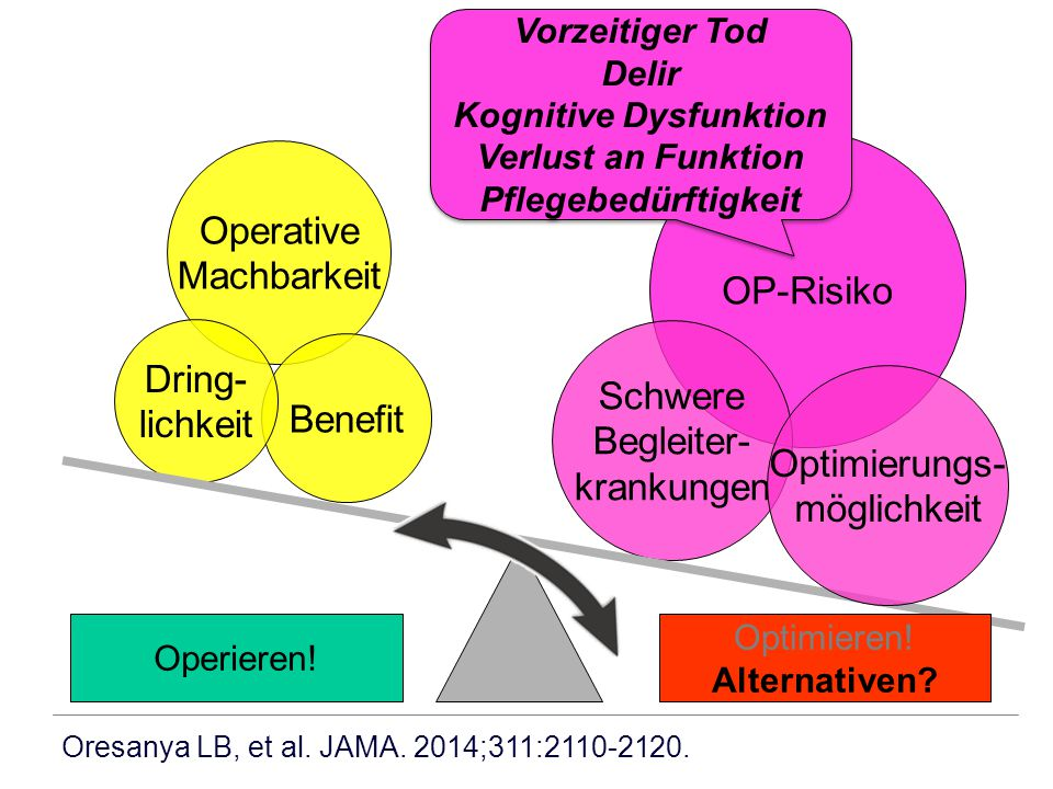 Chirurgie OUTCOME RISIKO Anästhesie Begleiter- krankungen Fleisher LA, Anderson GF.