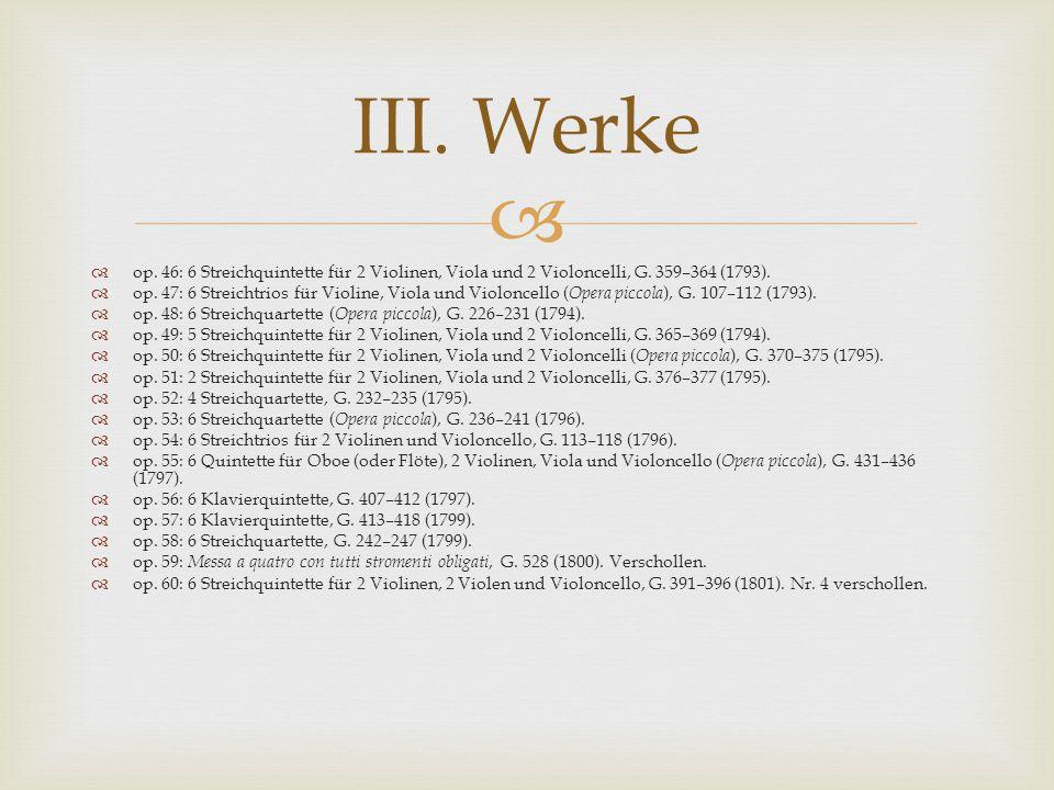   op.46: 6 Streichquintette für 2 Violinen, Viola und 2 Violoncelli, G.