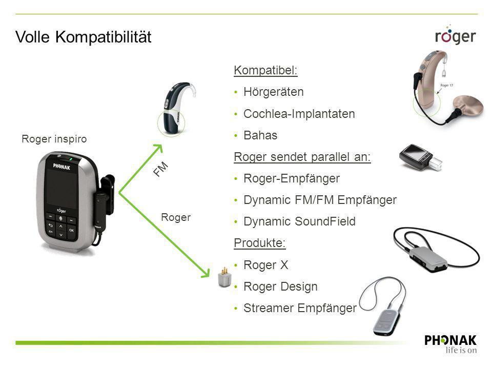 Kompatibel: Hörgeräten Cochlea-Implantaten Bahas Roger sendet parallel an: Roger-Empfänger Dynamic FM/FM Empfänger Dynamic SoundField Produkte: Roger