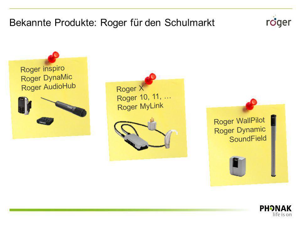 Roger inspiro Roger DynaMic Roger AudioHub Roger X Roger 10, 11, … Roger MyLink Roger WallPilot Roger Dynamic SoundField Bekannte Produkte: Roger für