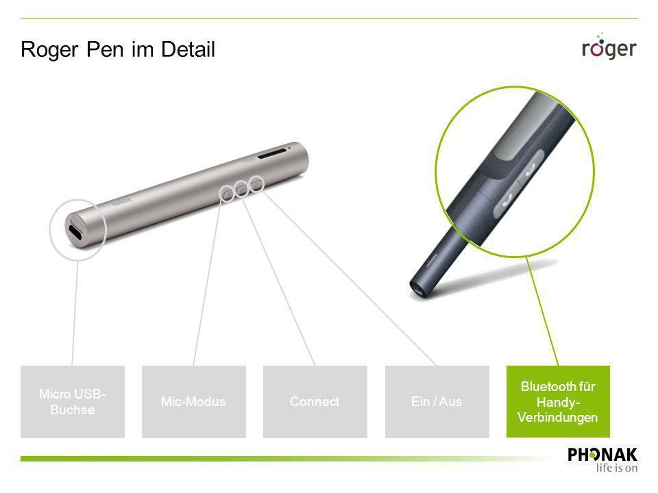 Roger Pen mit automatischer Lageerkennung Pen ein Pen stumm geschaltet Pen erkennt automatisch den freien Fall