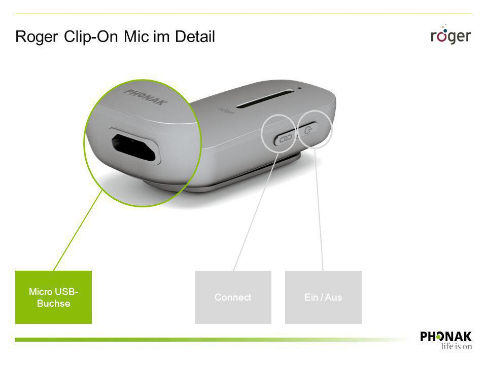 Roger Clip-On Mic im Detail Micro USB- Buchse ConnectEin / Aus