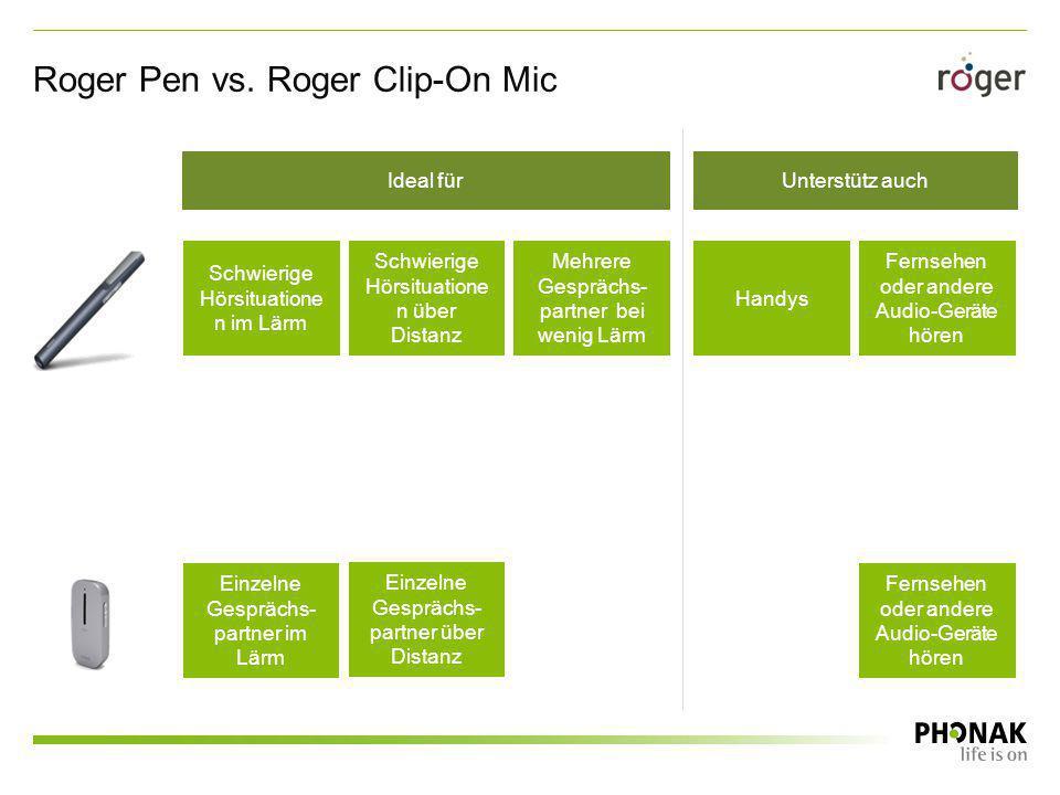 Roger Pen vs. Roger Clip-On Mic Einzelne Gesprächs- partner im Lärm Einzelne Gesprächs- partner über Distanz Schwierige Hörsituatione n im Lärm Schwie