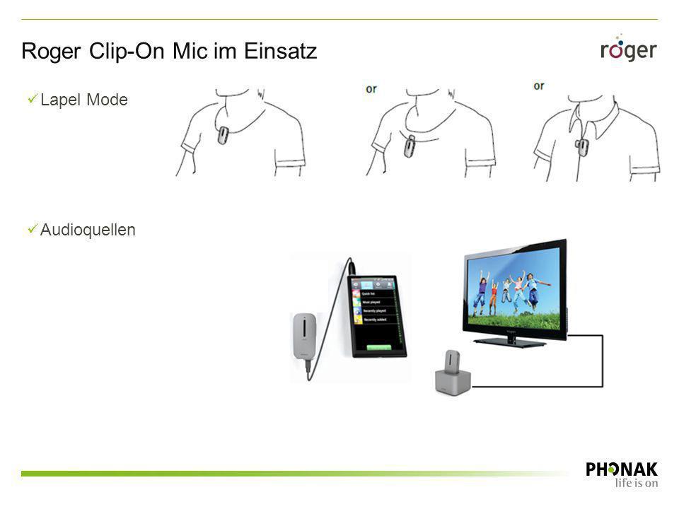 Lapel Mode Audioquellen Roger Clip-On Mic im Einsatz