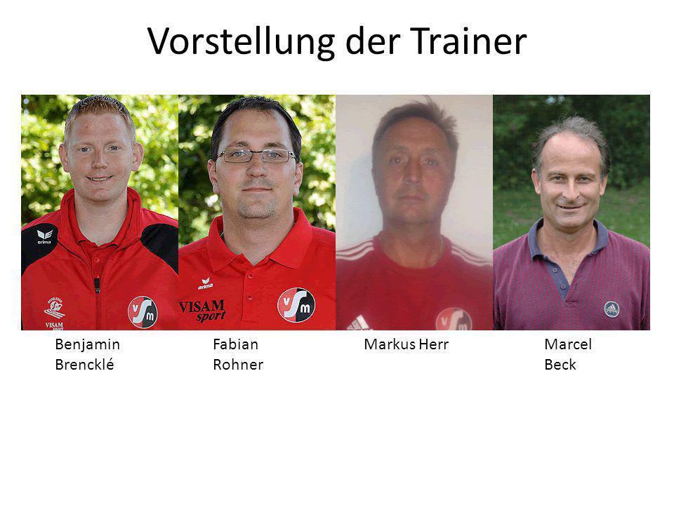 Vorstellung der Trainer Benjamin Brencklé Fabian Rohner Markus Herr Marcel Beck