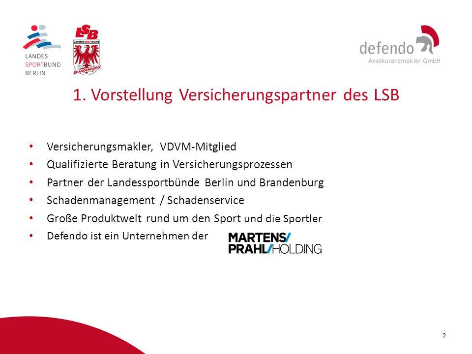 2 1. Vorstellung Versicherungspartner des LSB Versicherungsmakler, VDVM-Mitglied Qualifizierte Beratung in Versicherungsprozessen Partner der Landessp