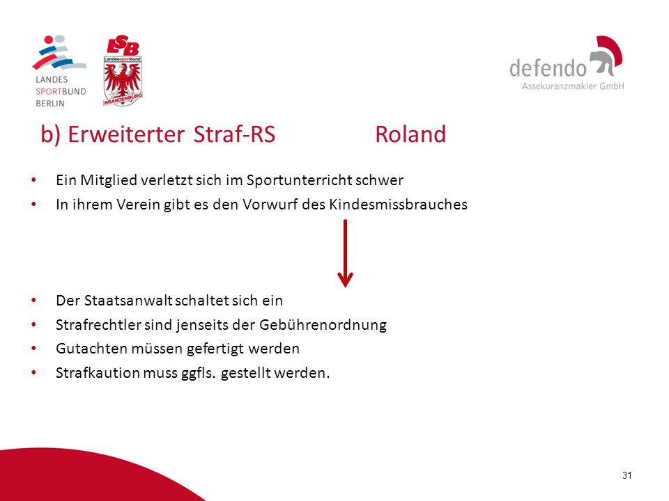 31 b) Erweiterter Straf-RSRoland Ein Mitglied verletzt sich im Sportunterricht schwer In ihrem Verein gibt es den Vorwurf des Kindesmissbrauches Der S