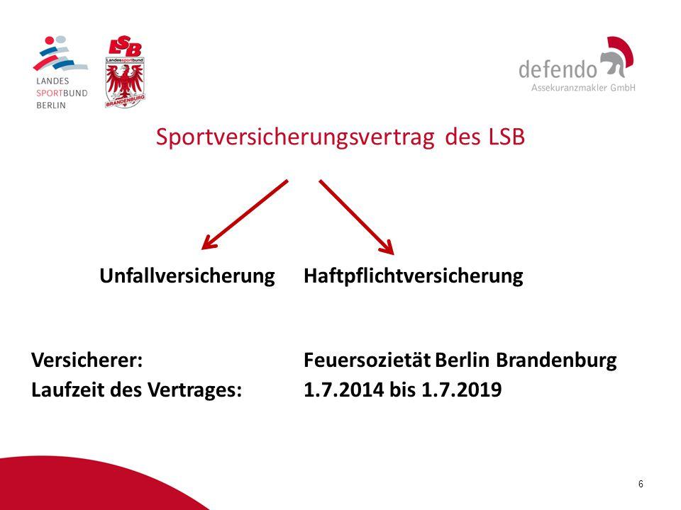 6 Sportversicherungsvertrag des LSB UnfallversicherungHaftpflichtversicherung Versicherer:Feuersozietät Berlin Brandenburg Laufzeit des Vertrages:1.7.