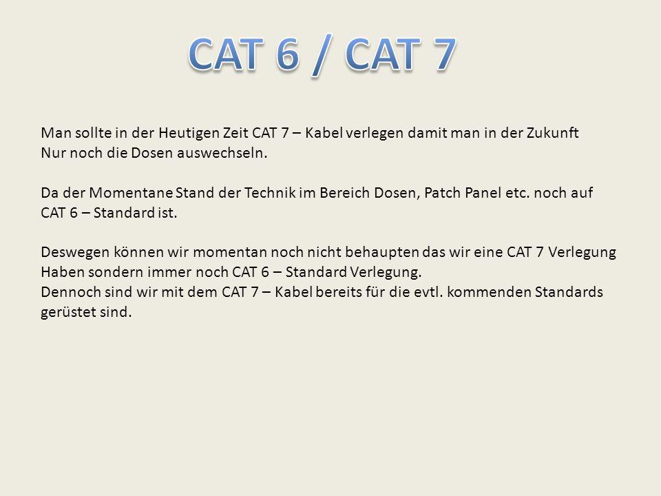 Man sollte in der Heutigen Zeit CAT 7 – Kabel verlegen damit man in der Zukunft Nur noch die Dosen auswechseln. Da der Momentane Stand der Technik im