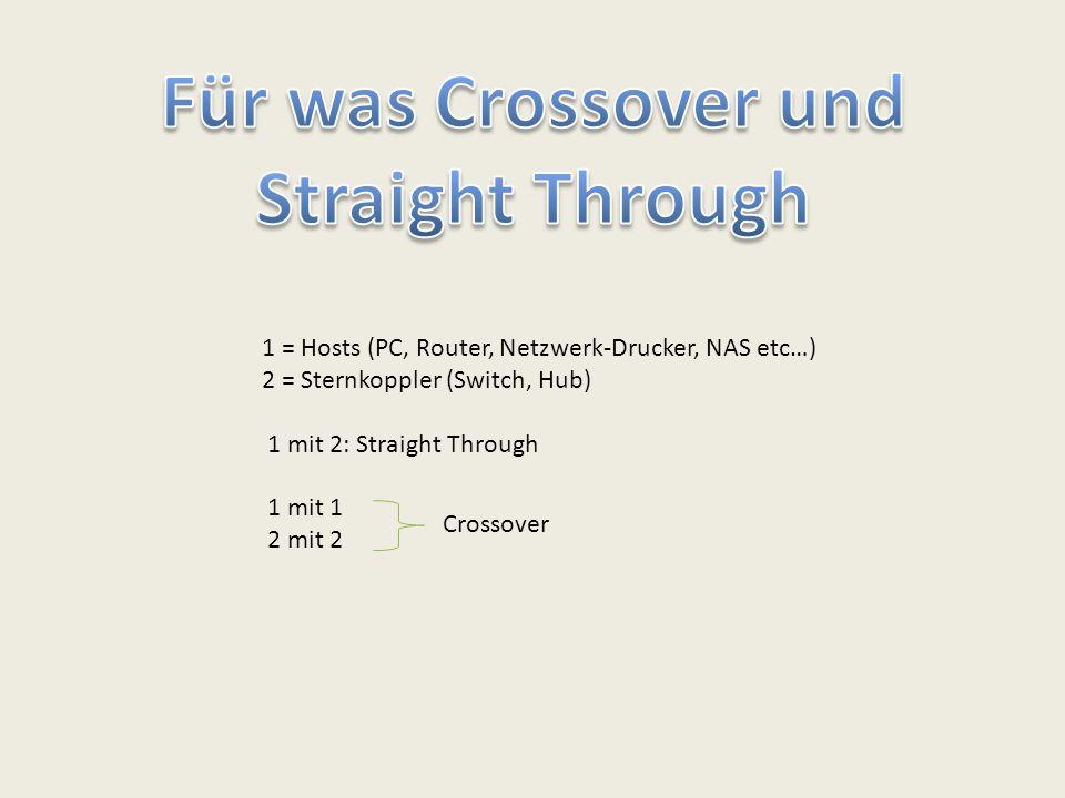 1 = Hosts (PC, Router, Netzwerk-Drucker, NAS etc…) 2 = Sternkoppler (Switch, Hub) 1 mit 2: Straight Through 1 mit 1 2 mit 2 Crossover