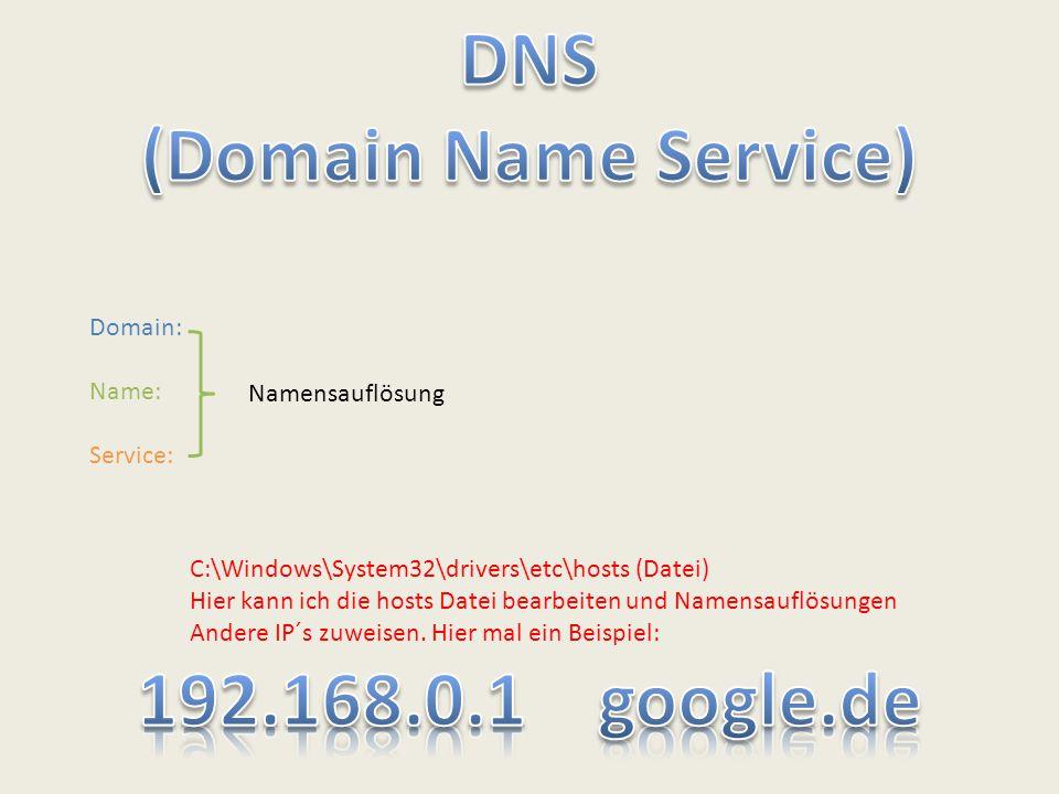 Domain: Name: Service: C:\Windows\System32\drivers\etc\hosts (Datei) Hier kann ich die hosts Datei bearbeiten und Namensauflösungen Andere IP´s zuweis