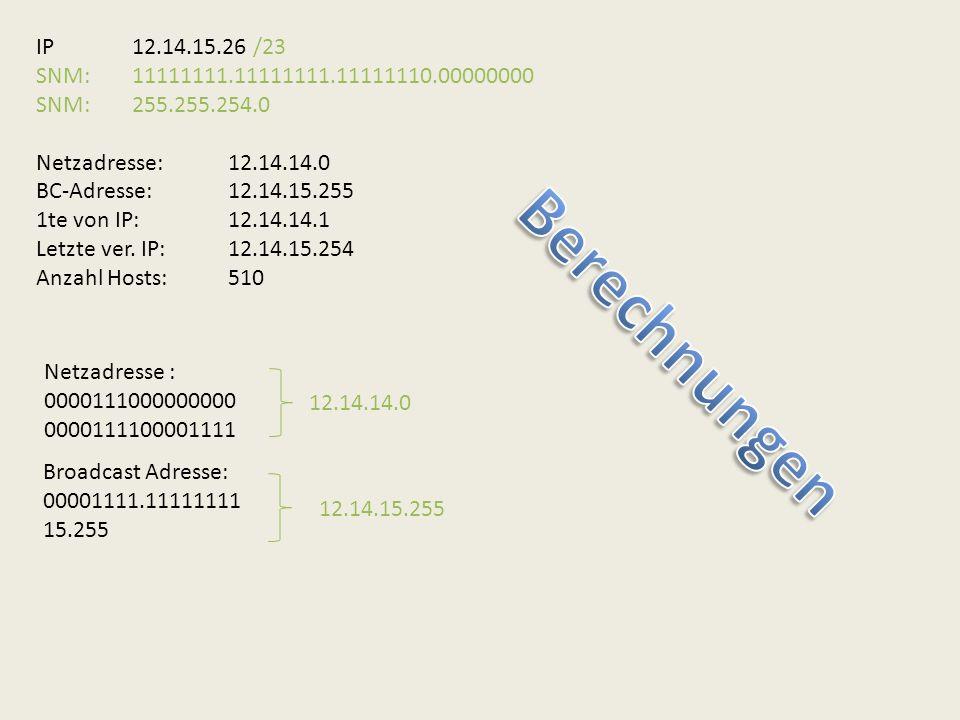 IP12.14.15.26 /23 SNM:11111111.11111111.11111110.00000000 SNM:255.255.254.0 Netzadresse:12.14.14.0 BC-Adresse:12.14.15.255 1te von IP:12.14.14.1 Letzt