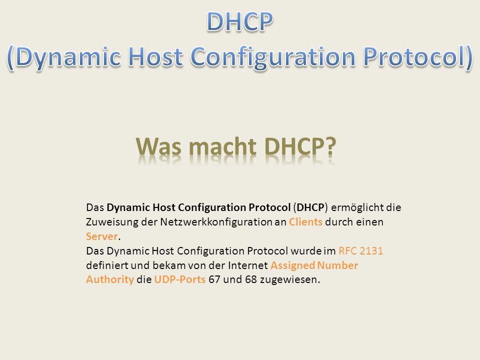 Das Dynamic Host Configuration Protocol (DHCP) ermöglicht die Zuweisung der Netzwerkkonfiguration an Clients durch einen Server. Das Dynamic Host Conf