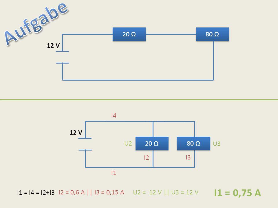20 Ω 80 Ω 12 V 20 Ω 80 Ω 12 V I1 = I4 = I2+I3 I1 I4 I2 I3 U2 U3 I2 = 0,6 A || I3 = 0,15 AU2 = 12 V || U3 = 12 V I1 = 0,75 A